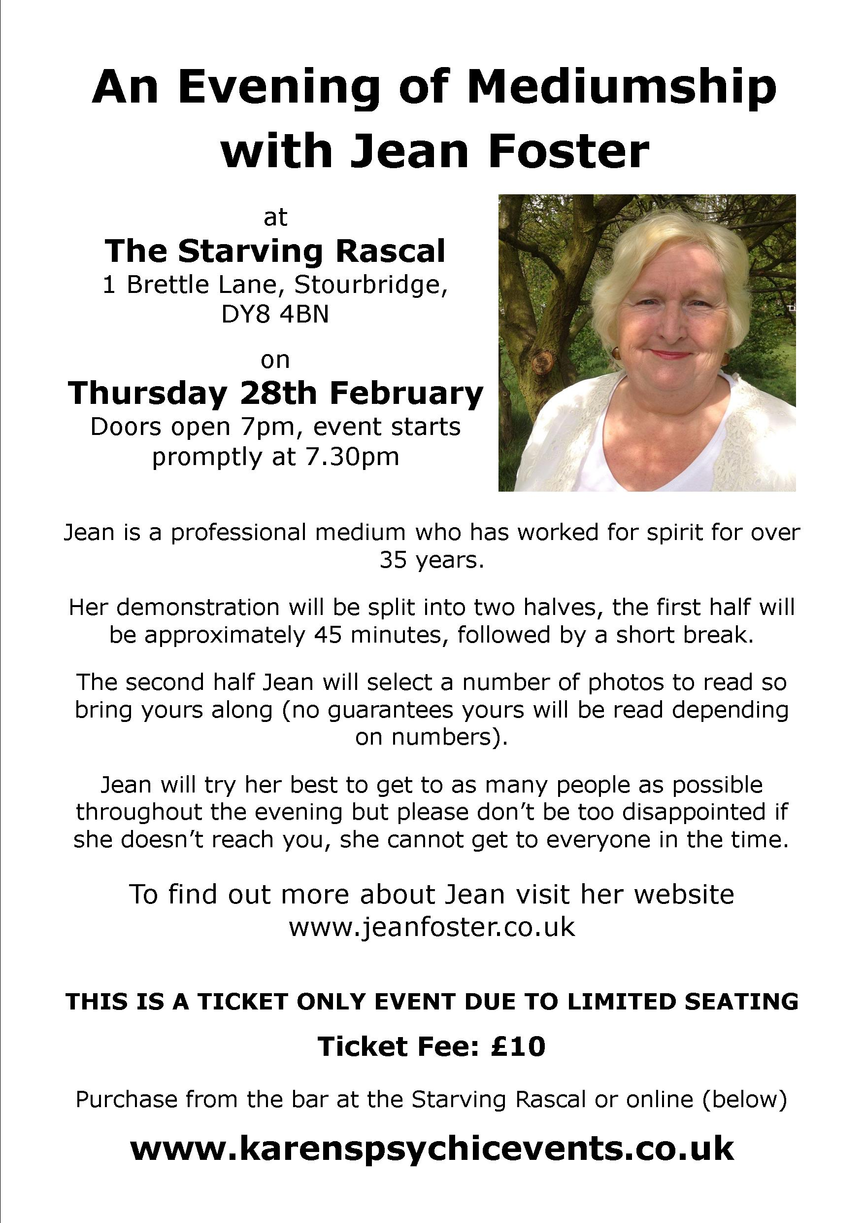 An Evening of Mediumship with Jean Foster on 28th February