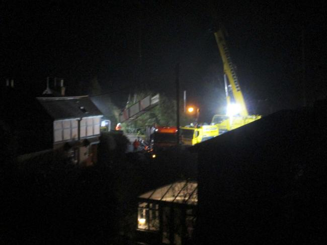 The footbridge being removed in January. Picture: Geoff Lewis