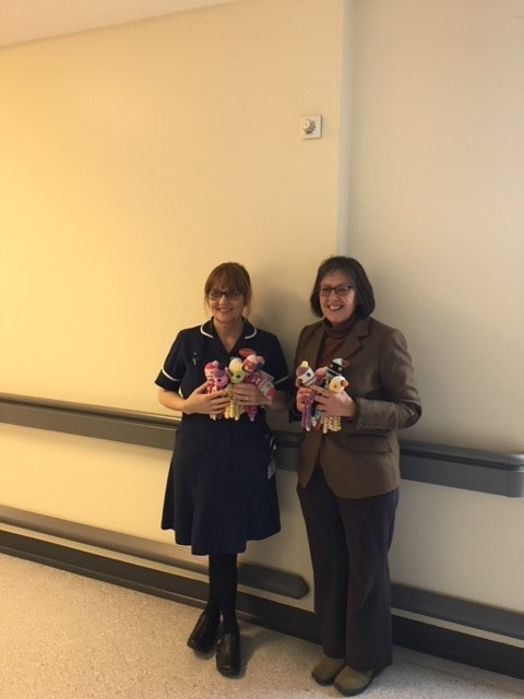 Allensmore WI treasurer Carol Mumford presenting 18 knitted octopuses to Elaine Evans, ward manager of the Hereford Hospital Special Care Baby Unit