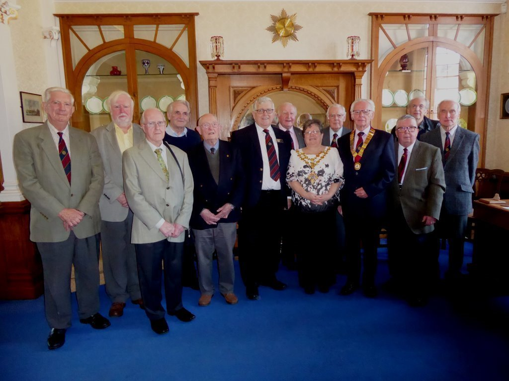 In the Mayor's Parlour: Probus President Allan Lloyd wearing Chain the Probus of Office, and Mayor's Officer John Marshall stand on either side of the Mayor of Hereford, accompanied by members of the City of Hereford Probus Club