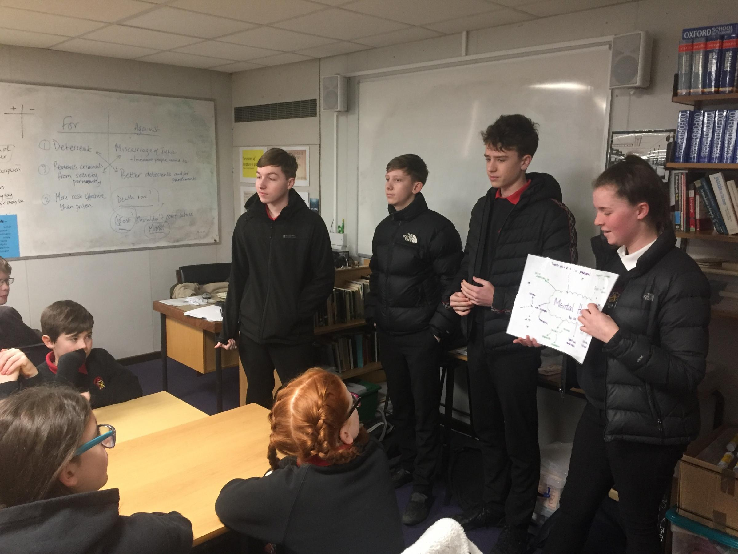 Some of the Year 11 students delivering their message of wellbeing