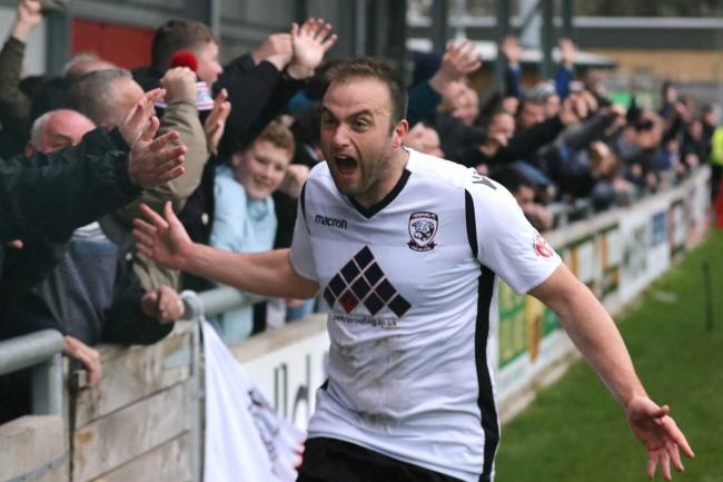 Mike Symons celebrates after scoring the equaliser during Hereford's 2-2 draw with FC United of Manchester. Picture: Steve Niblett/Hereford FC