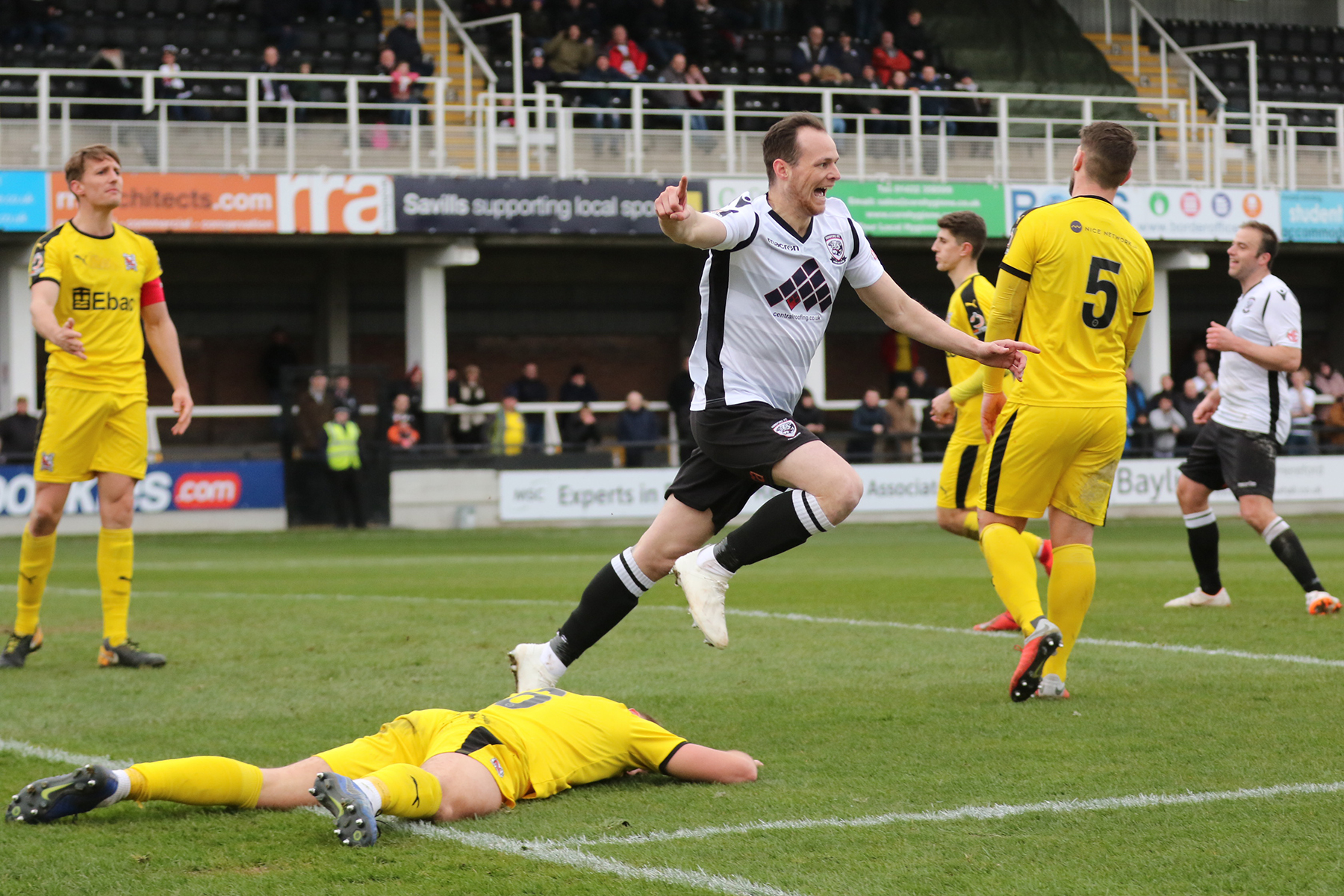 Lance Smith celebrates his goal. Picture: Steve Niblett/Hereford FC