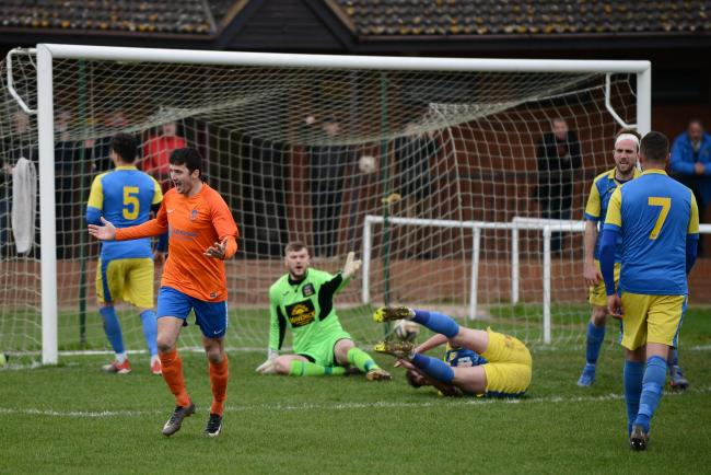 Wellington FC v Tividale FC - Paul Jones scores the second goal of his hat-trick..