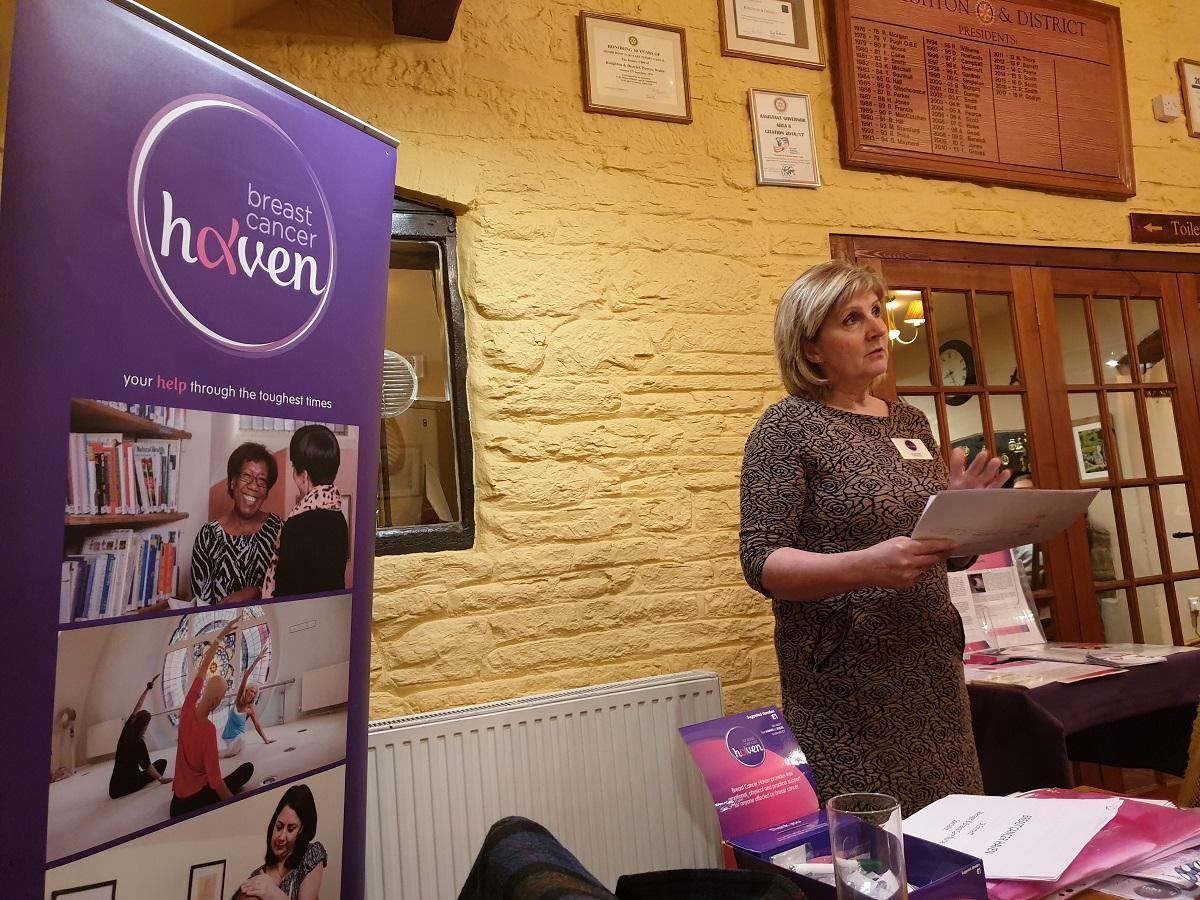 Di Emmett from the Breast Cancer Haven in Hereford during her talk