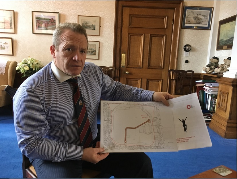 Councillor Jim Kenyon with the cycle circuit plans.