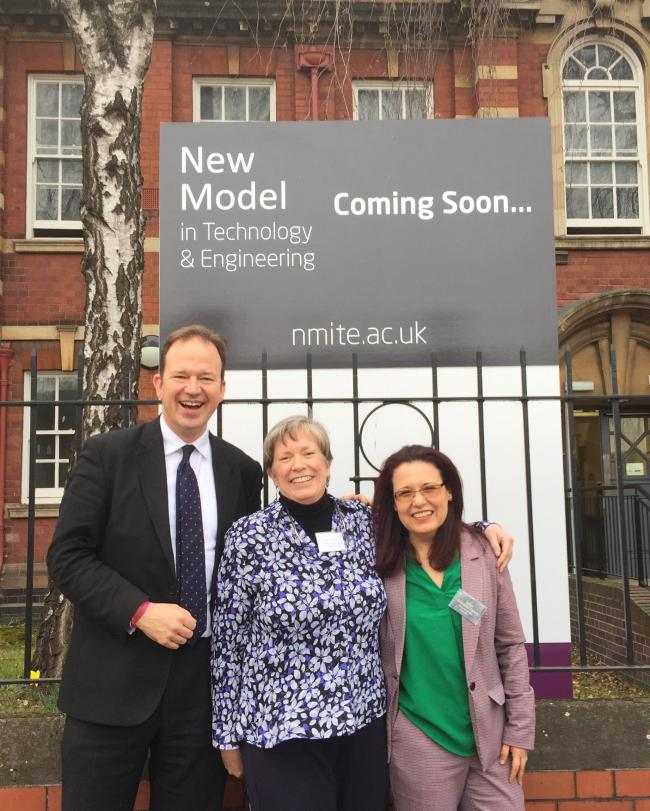 Hereford MP Jesse Norman with NMiTE co-founder Karen Usher and CEO Elena Rodriguez-Falcon at the new Blackfriars Street site.