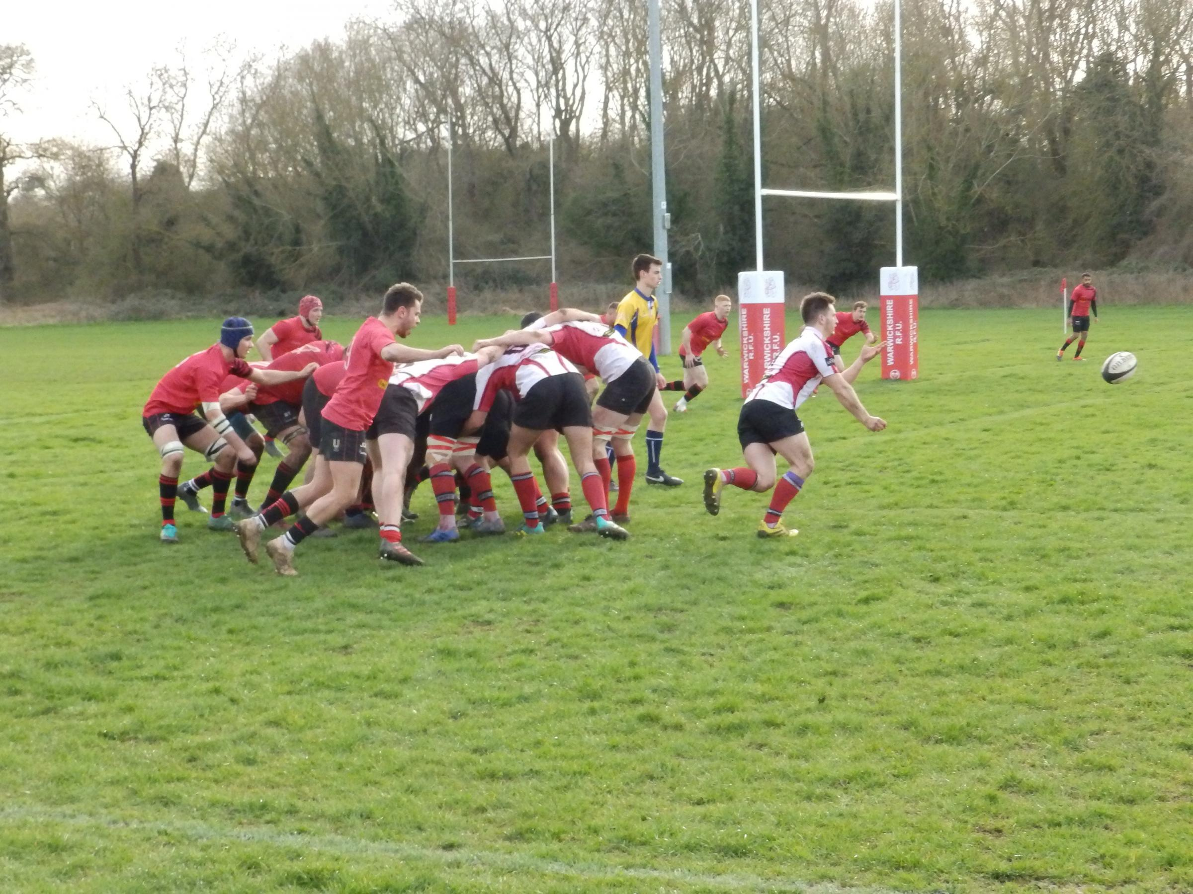 Ollie Llewellyn gets the ball away from an attacking scrum