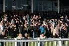 St. Michael's Hospice Charity Raceday - Hereford Racecourse. Punters enjoying the racing in the spring sunshine..