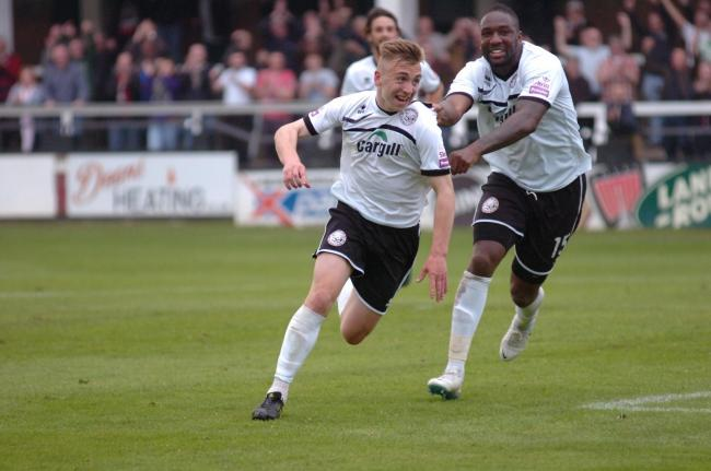 Hereford United FC v Alfreton Town FC..Jarrod Bowen scores a goal to make it 3-1.