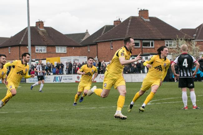 Lance Smith celebrates his goal against Spennymoor Town. Picture: Andy Walkden