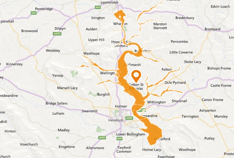 The area at risk of flooding. Graphic: Environment Agency