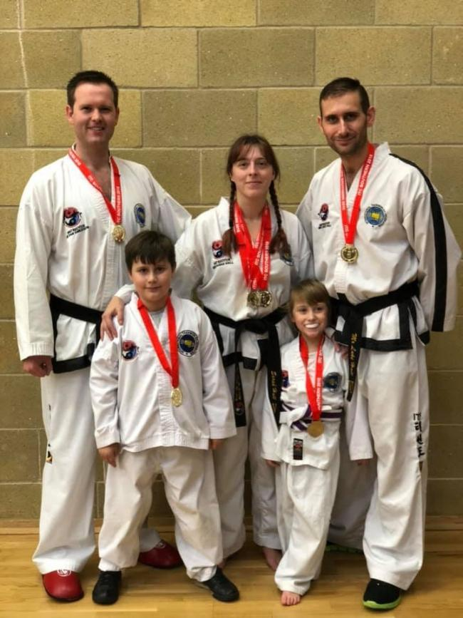 The Hall Family with assistant instructor Dan Sneddon (left)