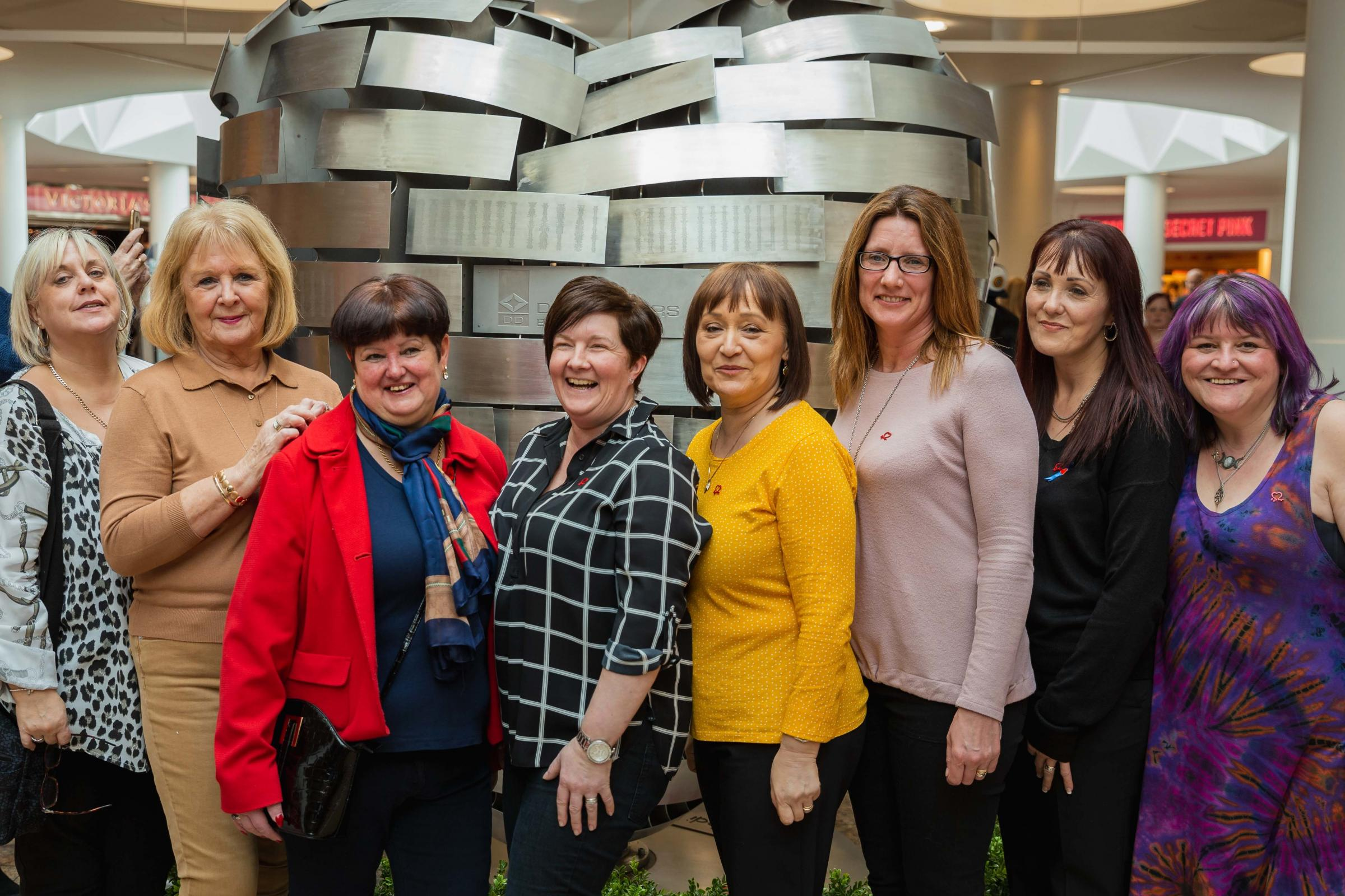 Heart Mums at the Heart of Steel Sheffield. From left: Maria Chebrika-Shaw, Susan Jackson, Jan Lockett, Nicola Whinham, Yvonne Richardson, Sue Licence, Julie Chambers, Catriona Hamilton