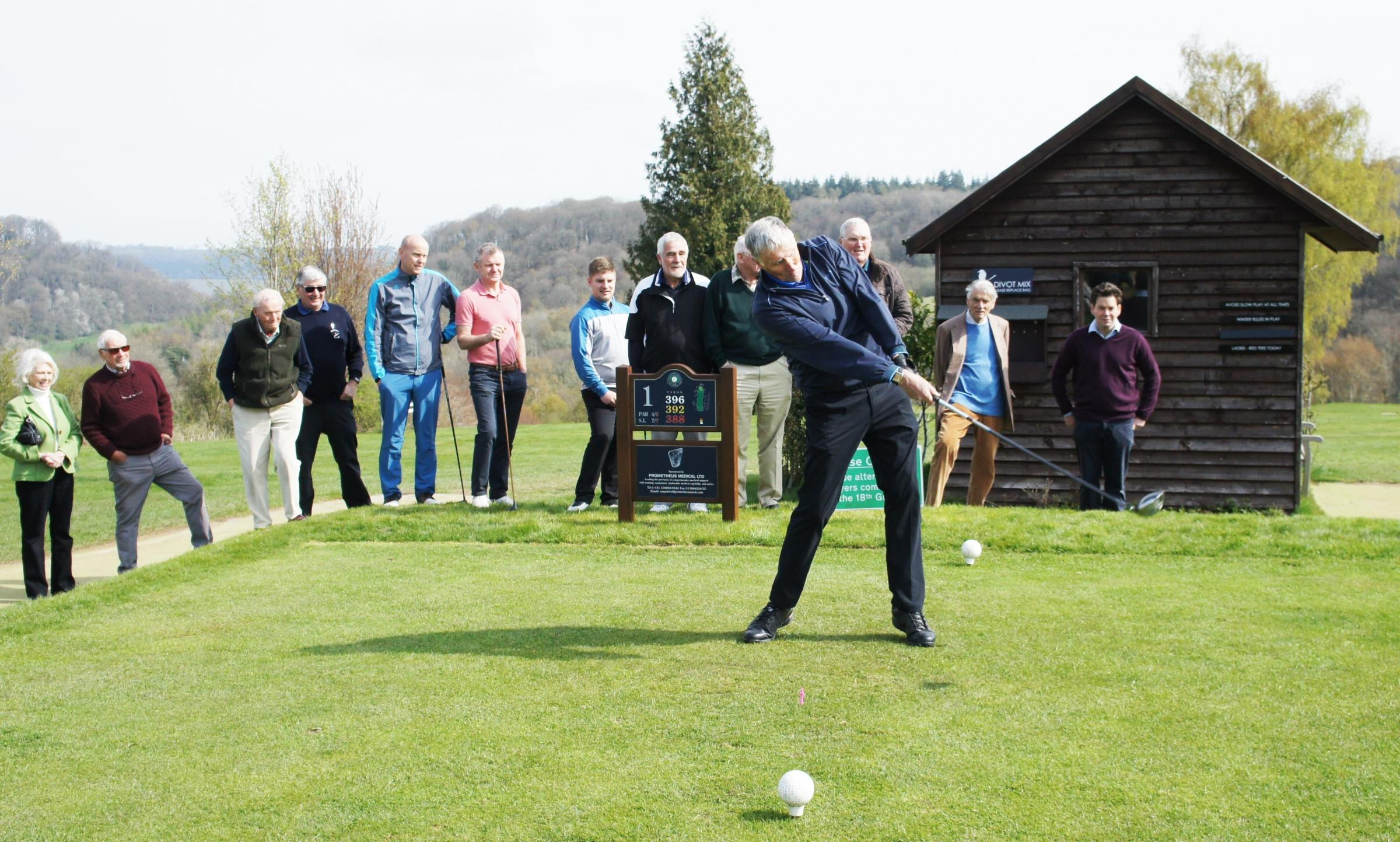 David Harrison drives in as the Herefordshire Golf Club captain