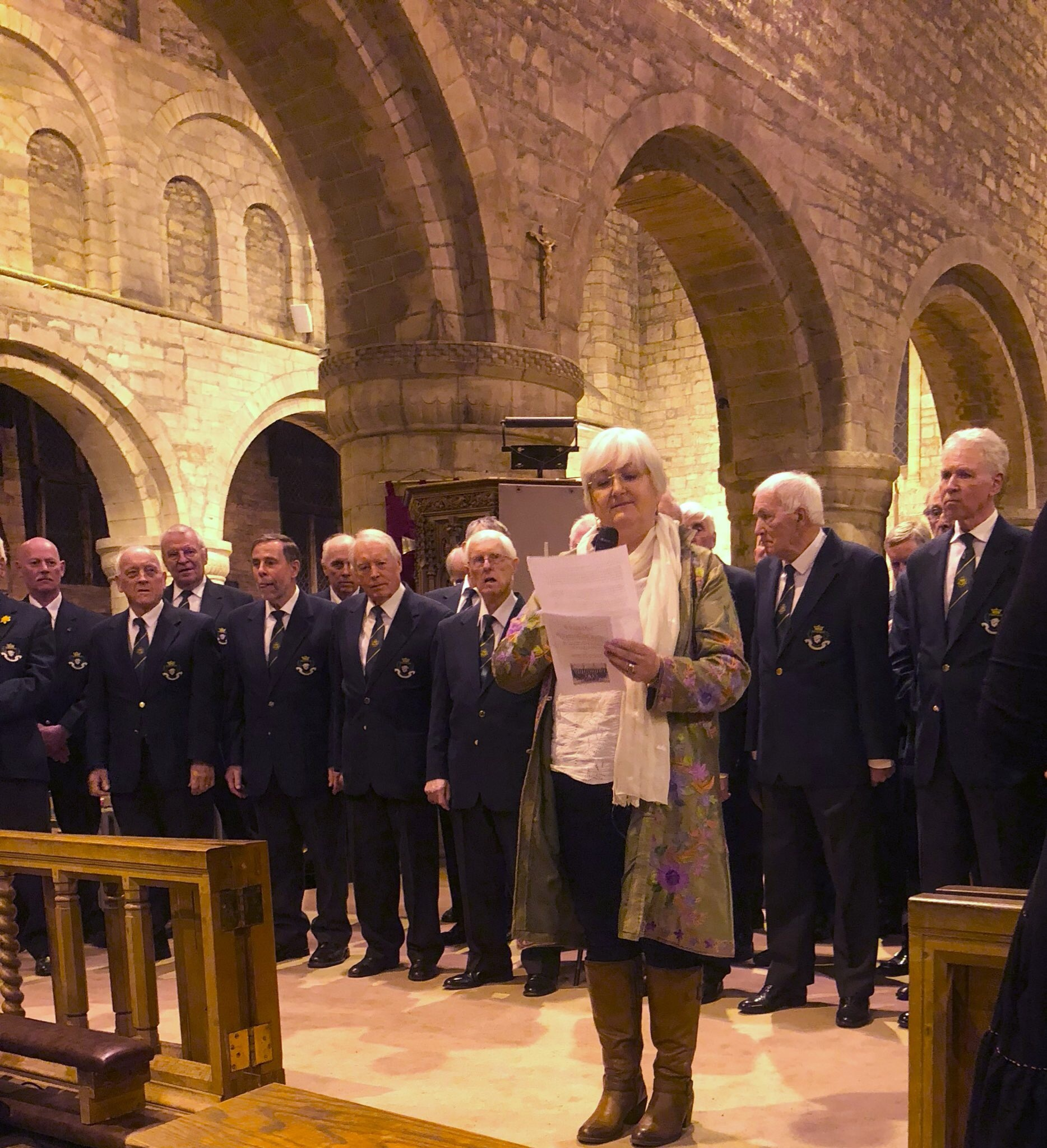 Hereford Police Male Choir and Phillipa Bruce Kerr, Chair of Leominster Meeting Centre.