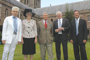 Hereford College of Arts celebrates. Pictured are Sir Roy Strong, Lady Darnley, Don McCullin, John Bulmer and HCA principal, RichardHeatley. 092850-7
