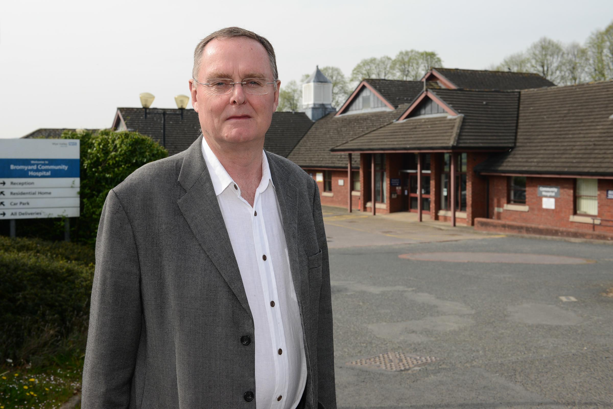 Bromyard county councillor Alan Seldon pictured outside Bromyard Community Hospital.