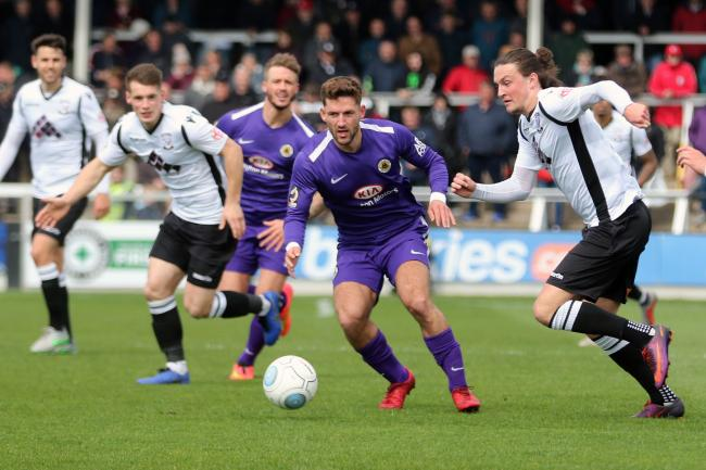 Tom Owen-Evans in action against Boston United. Picture: Steve Niblett/Hereford FC