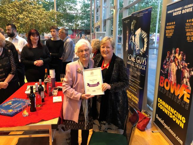 NODA district representative Louise Hickey presenting Rosemary Heggie with her special award