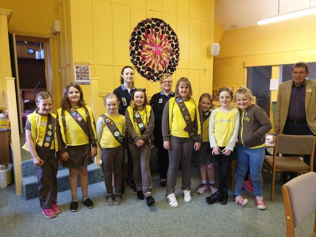 The Brownies with their sashes, showing their many achievements