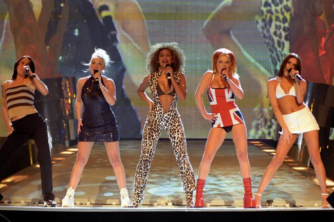 The Spice Girls perform at the Brit Awards in 1997
