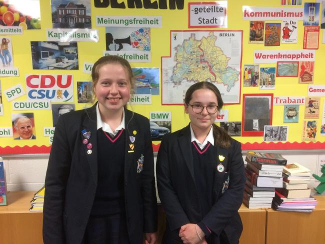 Ross-on-Wye's Milly McIlroy (right) achieved a joint first place in the Oxford German Olympiad, and Sophia Rose (left) was a runner-up