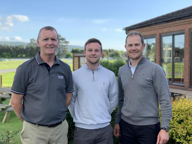 Pros Invitation Day winner Dave Fish pictured with club professionals Russell Price and Dan Francis