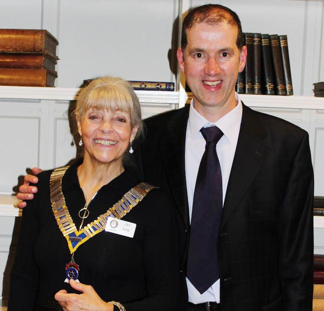 Rotary president Jan Long and optician Jonathan Hill