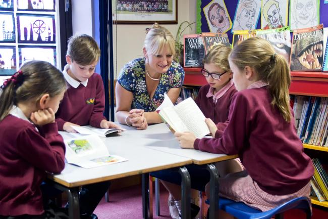 Gorsley Goffs primary school pupils pictured in 2015 with headteacher Di Atkinson.